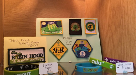 Good looking range of badges in the tuck shop